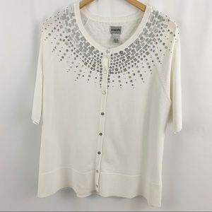 Chico's White Silver Embellished Cardigan 3